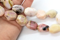 African Pink Opal (natural) A grade Irregular Faceted Nugget Gemstone Beads