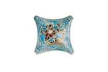 Aqua Blue Enamel Large Diamond Focal Bead with Floral Accents