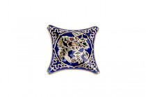 Enamel Cobalt Blue Floral Diamond - Focal Bead
