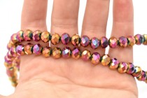 Copper/Dark Pink/Teal Metallic Chinese Crystal Rondelle Glass Beads - opaque