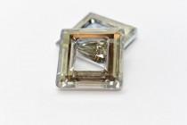 Crystal Silver Shade Swarovski Crystal Square Fancy Stone Pendant 4439