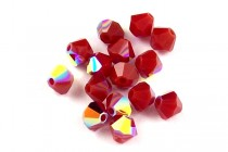Dark Red Coral AB 5301 Swarovski Elements Crystal Bicone Bead