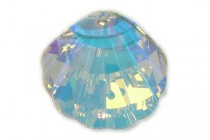 Crystal AB, Drop, Swarovski crystals, 28x28mm Faceted Crystal Shell Pendant (6723).