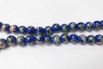 Porcelain Beads, Cobalt Blue, Floral, Round, 8mm