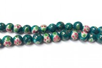 Green Floral Round Porcelain Beads with Gold Accents