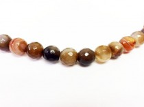 Agate, Natural,Faceted Disco Ball Cut Round Gemstone Beads ,Brown/Beige