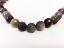 Agate, Natural,Round Faceted Disco Ball Cut Gemstone Beads - Grey