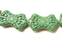 Light Green Cinnabar (Imitation) Bowtie Shaped Beads with Intricate Carvings
