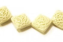 White Cinnabar (Imitation) Puffy Diamond Beads with Carved Chinese Characters