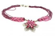 Garnet & Swarovski Crystal Multi Strand Necklace with Flower Pendant