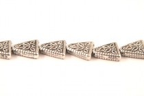 Pewter 4 Hole Leaf Triangle Beads 18x19mm