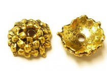 Antique Gold Plated Bead Caps - Semi Cone with Flowers
