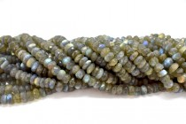 Labradorite (Natural) Large Faceted Rondelle Gemstone Beads