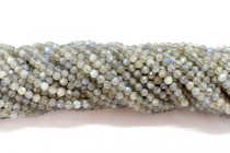 Labradorite (Natural) Faceted Round Gemstone Beads - 4mm
