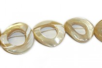 Mother of Pearl Flat Wavy Circle, Bead Frame, Shell Beads - Natural