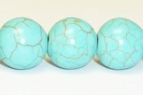 Magnesite (Dyed/Treated) Light Turquoise Smooth Round Gemstone Beads