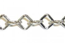 Rhodium Plate Over Brass Square Diamond Chain