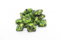 Enamel Green Abstract Floral Beads - Puffed Diamond Shape