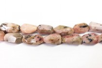 African Pink Opal, Natural A grade, Irregular, Faceted, Long Nugget Gemstone Beads