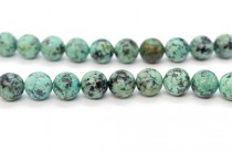 African Turquoise (Color Enhanced) Smooth Round Gemstone Beads - Large Hole