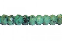 African Turquoise (Dyed) A Grade Faceted Rondelle Gemstone Beads