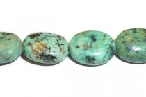 African Turquoise (Dyed) A Grade Flat Oval Gemstone Beads