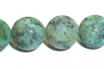 African Turquoise (Natural) A Grade Matte (Frosted) Round Gemstone Beads