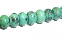 African Turquoise (Dyed) A Grade Rondelle Gemstone Beads