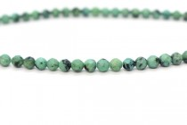 African Turquoise (Color Enhanced) Faceted Round Gemstone Beads