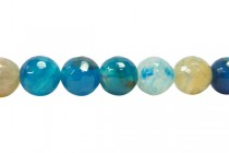 Agate (Dyed ) Faceted Disco Ball Cut Round Gemstone Beads - Blue/ Clear Crackle