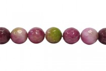 Agate (Dyed ) Faceted Disco Ball Cut Round Gemstone Beads - Green/Pink