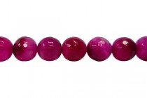 Agate (Dyed) Faceted Disco Ball Cut Round Gemstone Beads - Pink,Dark Fuchsia
