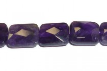Amethyst (Natural) A Grade Faceted Flat Rectangle Gemstone Beads