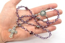Violet & Amethyst Swarovski Crystal Rosary Making Kit with Silver TierraCast Components