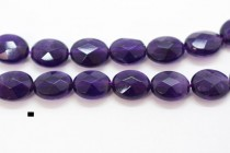 Amethyst (Natural) Faceted Flat Oval Gemstone Beads