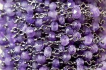 Amethyst,Natural,Faceted Rondelle,Wire Wrapped Beaded Chain,Gunmetal Plate over Copper