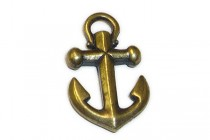 Charm, Anchor,TierraCast&reg: ,oxidized Brass pewter (tin-based alloy), 15mm .