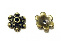 Antique Brass Bead Cap - 6 Petal