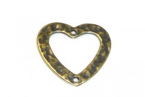 Antique Brass 2 Hole Heart Link 17mm x 19mm - JBB Findings