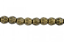 Antique Brass Plate over Pewter Faceted Round Base Metal Bead