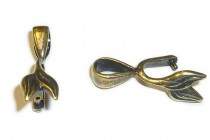 Antique Brass Pinch Bail with Leaf - JBB Findings