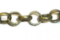 Antique Brass Rolo / Circle Link Chain 6mm