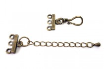 Antique Brass Plate Over Brass Three Strand Bar End w/ Clasp