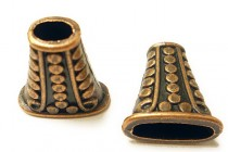 Antique Copper Plated Bead Caps - Dotted Oval Cone