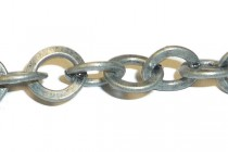 Antique Silver Over Iron Rolo Circle (flat) Chain - 7mm