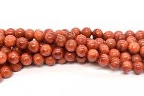 Red Sponge Coral (Dyed & Coated) Smooth Round Beads