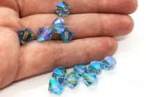Aquamarine AB 2X 5301/5328 Swarovski Crystal Bicone Bead