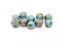 Aqua Blue Cloisonne Round Beads with Colorful Flowers CL-123