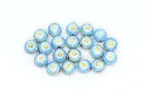 Aqua Blue & White Enamel Flower Shaped Beads - Puffed Coin EN-09