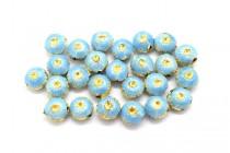Aqua Blue Enamel Flower Shaped Beads - Puffed Coin EN-04